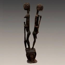 Statuettes anciennes couple d'Ancetres Dogon pot à offrandes