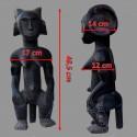 Statuette femme fang Mvai coiffe a cornes dimensions